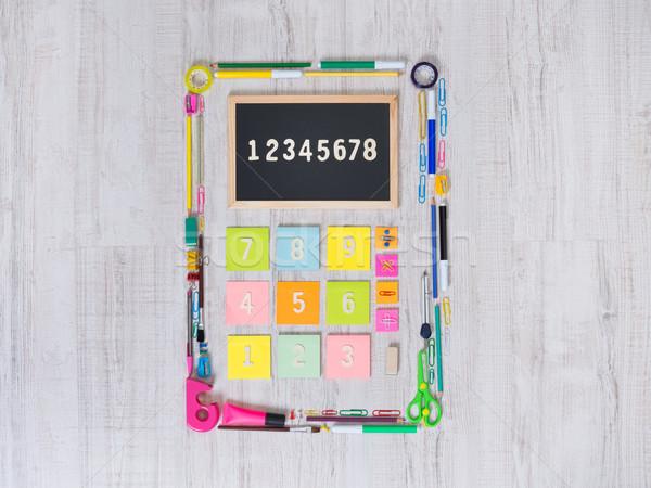 Kolorowy Kalkulator materiały biurowe obiektów Stick zauważa Zdjęcia stock © stokkete