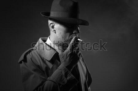 Detektyw pistolet ciemne fedora Zdjęcia stock © stokkete
