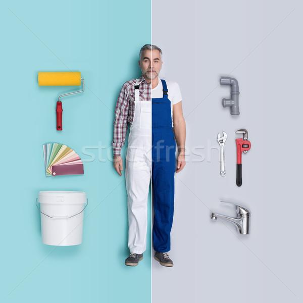 Masculina munecas comparación pintor fontanero Foto stock © stokkete