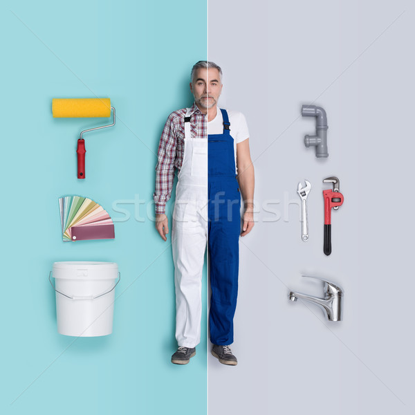 Lifelike male dolls comparison: painter and plumber Stock photo © stokkete