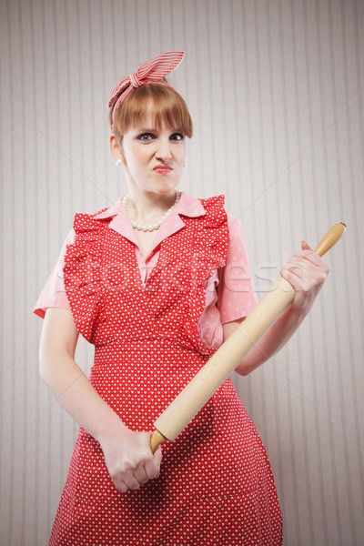 Retro háziasszony mérges sodrófa stressz női Stock fotó © stokkete