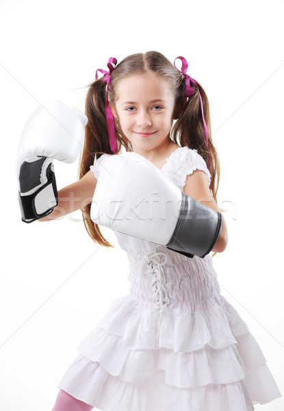 Jeunes lutteur fille belle fille prêt drôle Photo stock © stokkete