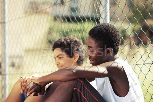 Stock fotó: Barátság · kettő · fiatal · afrikai · fiú · pihen