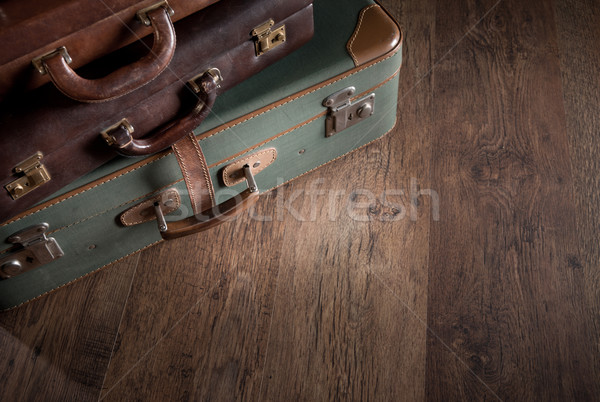 Pile of vintage suitcases Stock photo © stokkete