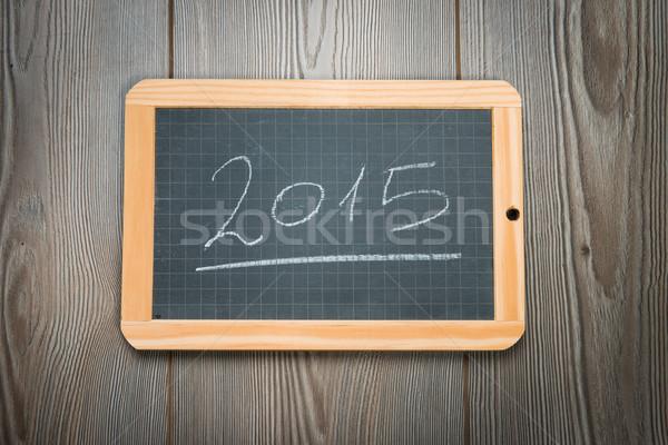 2015 lavagna scritto nero grezzo legno Foto d'archivio © stokkete