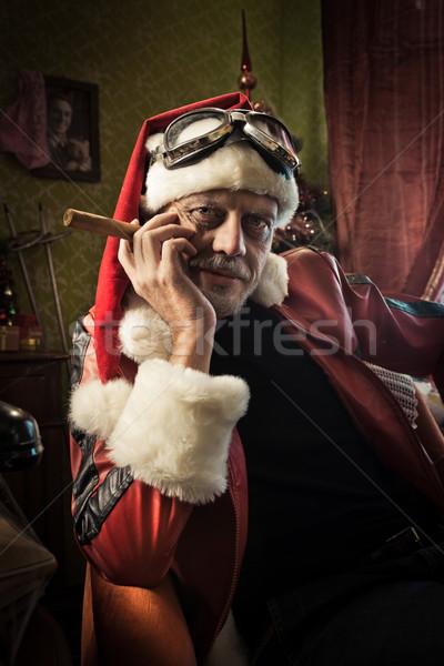 Rossz mikulás szivar portré fáradt otthon Stock fotó © stokkete