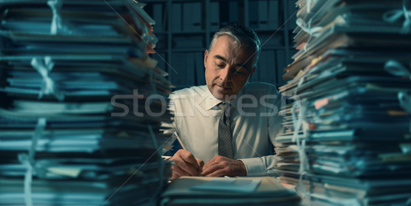 Business executive working late at night Stock photo © stokkete