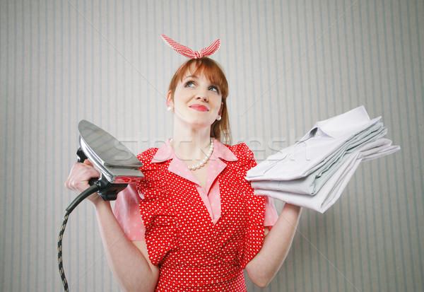 Zdjęcia stock: Doskonały · gospodyni · domowa · żelaza · retro · kobiet · sukienka