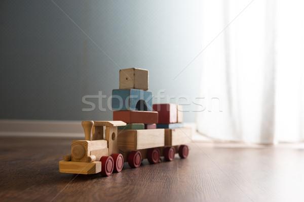 Giocattolo di legno treno piano vintage finestra Foto d'archivio © stokkete