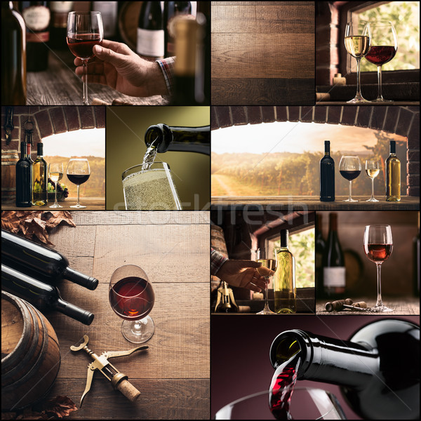 Wine culture and winemaking photo collage Stock photo © stokkete
