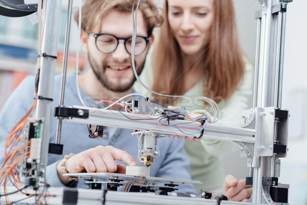 3D impression éducation souriant élèves imprimante Photo stock © stokkete
