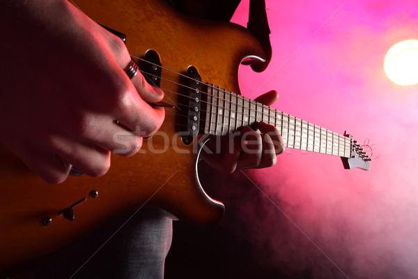 Guitarrista ação etapa guitarra luz soar Foto stock © stokkete