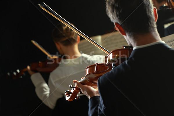 Klasszikus zene koncert játszik hátsó nézet kezek férfiak Stock fotó © stokkete