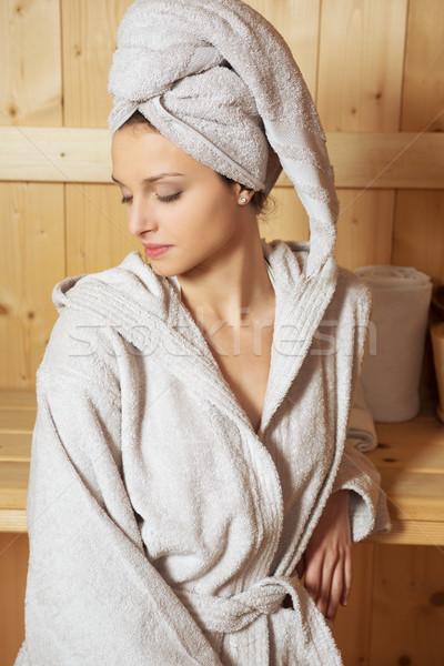 Nő megnyugtató szauna fiatal nő pad csukott szemmel Stock fotó © stokkete