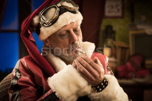 Rossz mikulás dohányzás ízület portré férfi Stock fotó © stokkete