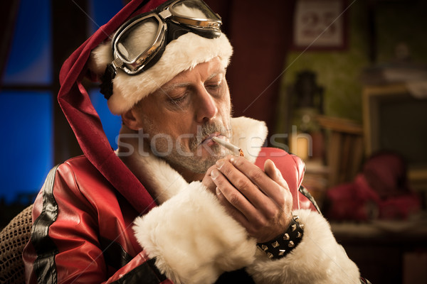 Bad Santa smoking a joint Stock photo © stokkete