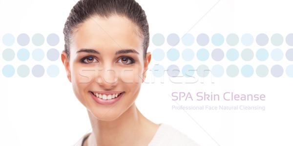 Cuidado de la piel cara banner mujer sonriente punteado nina Foto stock © stokkete