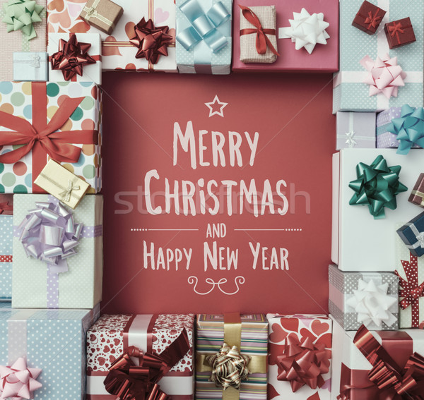 Merry Christmas and Happy New Year message Stock photo © stokkete