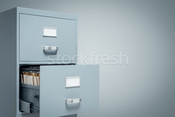 Gegevensopslag kabinet Open lade mappen binnenkant Stockfoto © stokkete