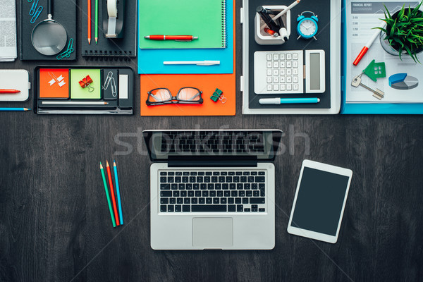 Creativo business desktop laptop ufficio accessori Foto d'archivio © stokkete