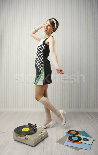 Tánc lány fiatal nő 1960 stílus divat Stock fotó © stokkete
