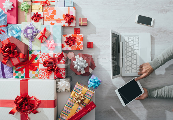 Colorful gifts on a desktop Stock photo © stokkete