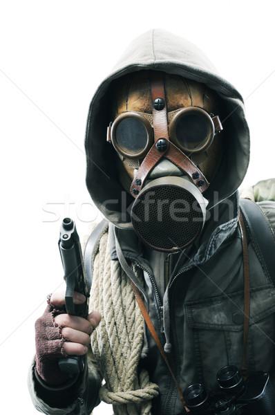 Post apocalíptico sobreviviente máscara de gas blanco hombre Foto stock © stokkete