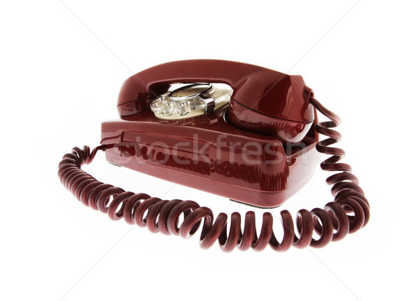 Vintage Rood telefoon business communicatie draad Stockfoto © stokkete