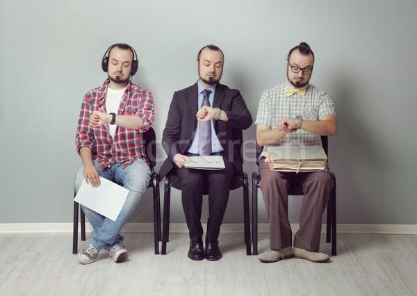 Váróterem kép három férfiak vár interjú Stock fotó © stokkete