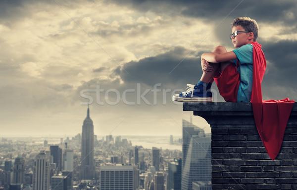 Mały superhero młody chłopak marzenia maska wolności Zdjęcia stock © stokkete