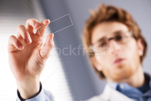 研究者 顕微鏡 スライド 小さな ガラス ストックフォト © stokkete