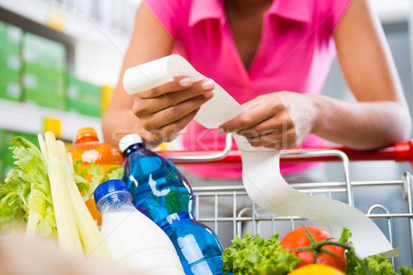 Stock fotó: Drága · élelmiszer · számlák · felismerhetetlen · nő · hosszú