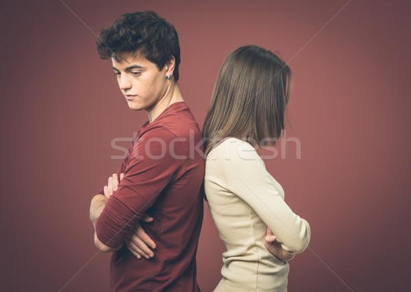 Fiatal pér veszekedik fiatal szomorú pár áll Stock fotó © stokkete