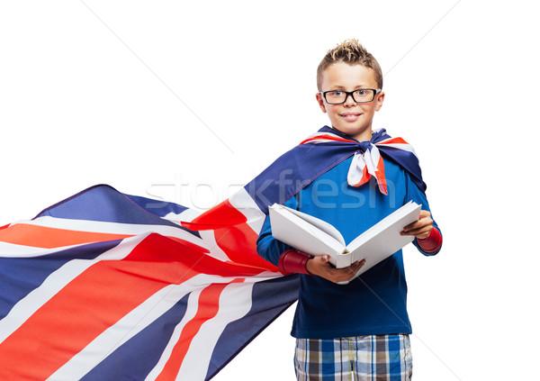 Superhero czytania książki cute chłopca Zdjęcia stock © stokkete