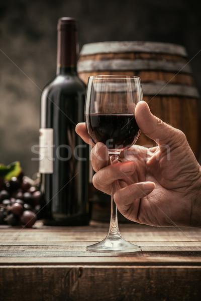 Borkóstolás pince idős férfi pohár drága Stock fotó © stokkete