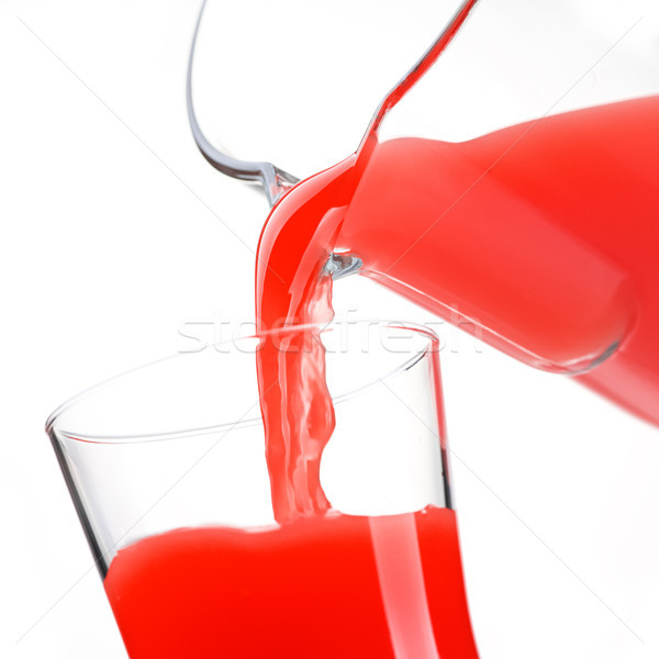 Pouring delicious red juice in glass Stock photo © stokkete
