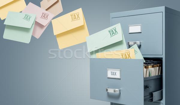 Vergi muhasebe Dosyaları dolap iş Stok fotoğraf © stokkete