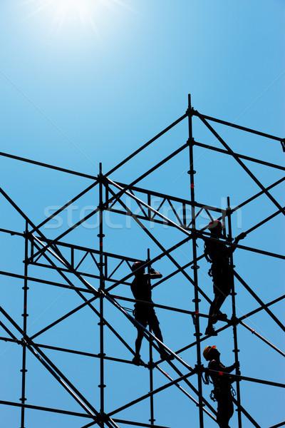 Bouwvakker plaats mannen industrie silhouet drukke Stockfoto © stokkete