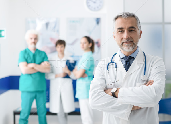 Stock photo: Confident doctor posing at the hospital