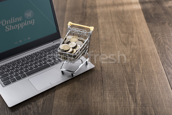 Bevásárlókocsi tele pénz laptop pénz fából készült Stock fotó © stokkete