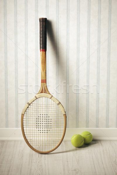 Tenisz ütő golyók régi tapéta szoba retro Stock fotó © stokkete