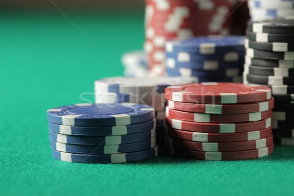 Poker chips poker blackjack chip blu nero Foto d'archivio © stokkete