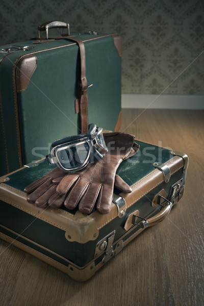 Vintage bagaglio occhiali pelle guanti valigie Foto d'archivio © stokkete