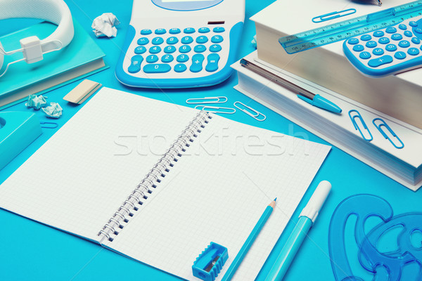 Studente desk open notebook spirale cancelleria Foto d'archivio © stokkete