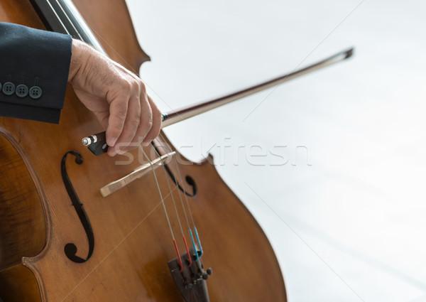 Zawodowych wiolonczelista gry dokumentu mężczyzna wiolonczela Zdjęcia stock © stokkete