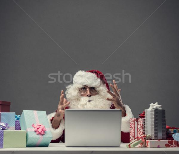 Foto stock: Computador · acidente · natal · zangado · frustrado · papai · noel