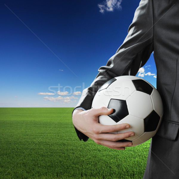 Football fan affaires ballon ciel bleu Photo stock © stokkete