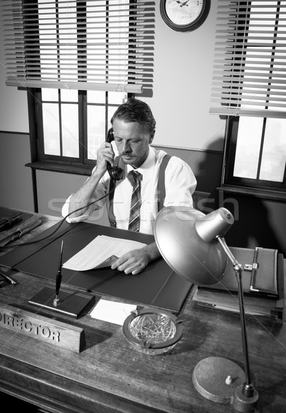 1950 オフィス ディレクター 電話 作業 デスク ストックフォト © stokkete