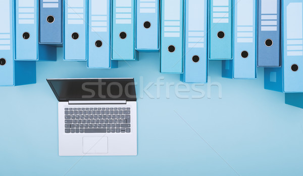Archívum gyűrű laptop akták szervezet cseresznye Stock fotó © stokkete
