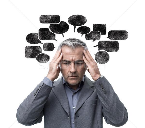 Negatywne myślenia stres zamyślony człowiek Zdjęcia stock © stokkete